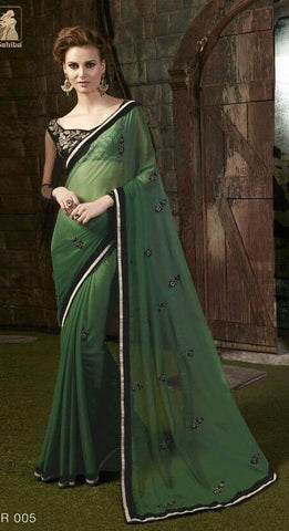 Green , Black,Georgette,Designer party wear saree with designer blouse
