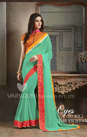 Orange, cyan and red saree with embroidery