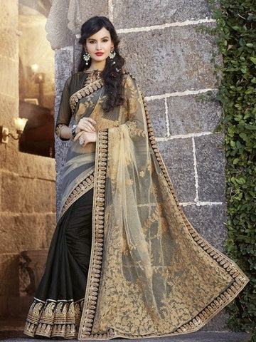saree Georgette , Silk , Beige , black