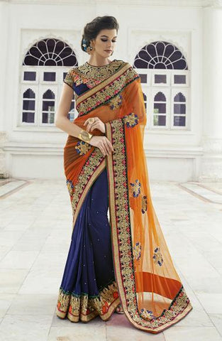 Saree Net &Georget,Orange , Blue
