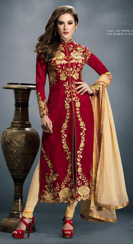 Red , Beige,Bhagalpuri silk,Designer suits anarkali suits party wear suits embroidery suits