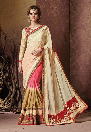 Beige and brown shaded multicolor saree for weddings