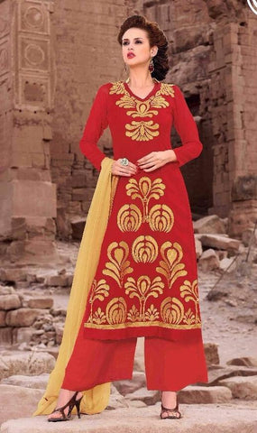 Red,Georgette,Designer straight long embroidered long floor length suits