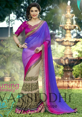 Buy double shaded designer saree with designer blouse