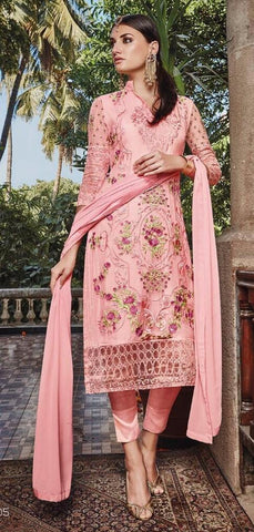 Peach,Georgette,designer straight suits with embroidery work