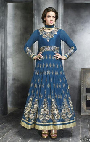 Blue,Georgette,Designer suits,suits,party wear,anarkali,embroidered suits,heavy suits,kaya,salwar suits,salwar
