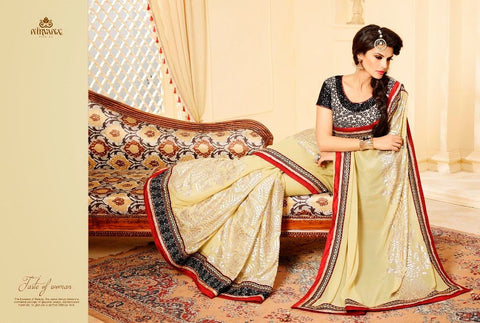 Beige and Black Georgette saree with embroidery work