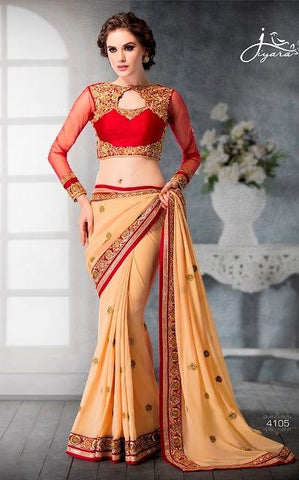 Beige , Red,Faux georgette,Designer party wear saree