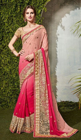 Pink,Chiffon,Party wear heavy designer saree