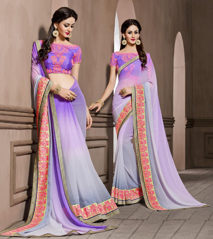 Purple,Georgette,Causal designer saree