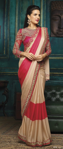 Beige , Red,Silk,Party wear designer saree