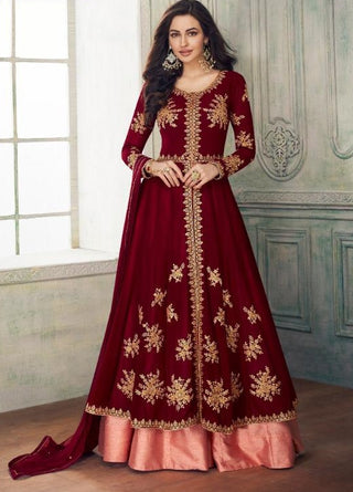 Maroon Georgette Party Wear Anarkali Dress With Maroon Dupatta