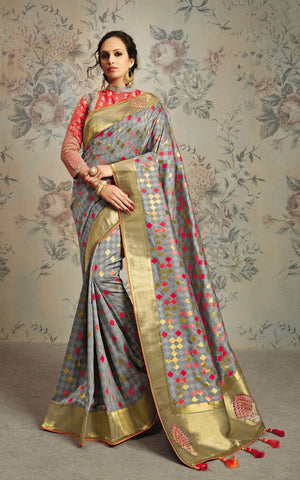 Grey Silk Party Wear Saree With Grey Blouse