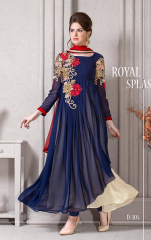 Blue ,Pure georgette,Anarkali party wear designer suits