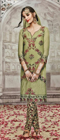 Green,Georgette,Party wear straight designer suit