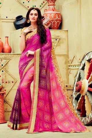 Purple , Pink,Georgette,Party wear designer saree with designer blouse