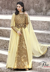 Yellow Geoergette Suit With Dupatta