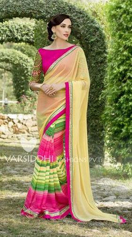 Yellow , Pink,Pure georgette,Casual office wear designer saree