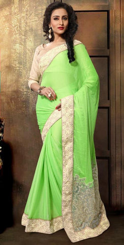 Green,Net,Heavy designer party wear saree