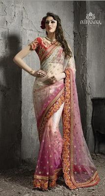 Pink , Beige,Net,Heavy wedding wear designer saree