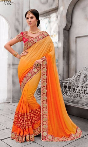 Yellow , orange,Silk,Heavy designer party wear saree