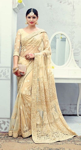 Beige  ,Lucknowi,heavy designer party wear saree
