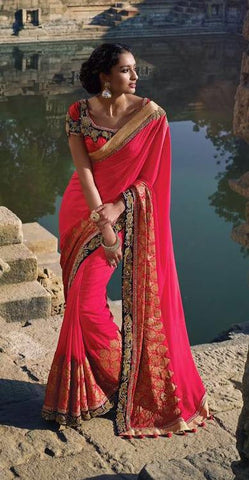 Pink,Silk,Heavy designer party wear saree