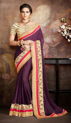 Purple,Silk,Party wear designer saree