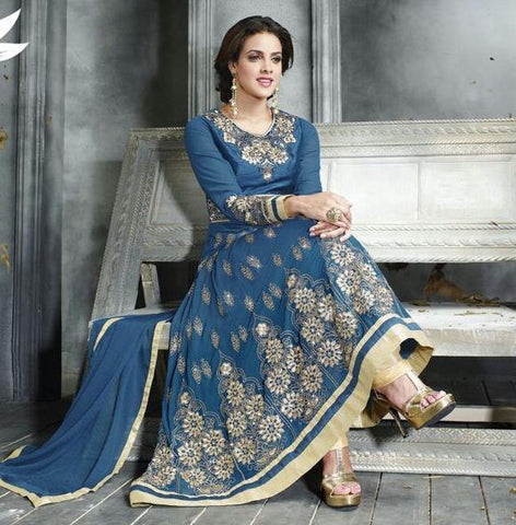 Blue embroidered long floor length designer anarkali suits with chiffon dupatta