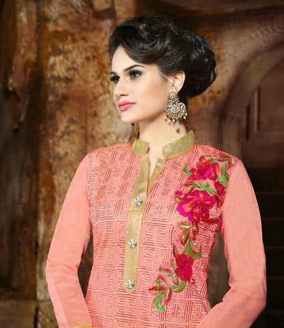Peach and green designer straight knee length salwar suits dress material