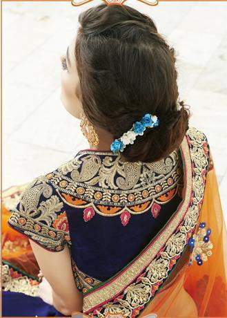 Blue and orange designer bridal saree with mota border and work