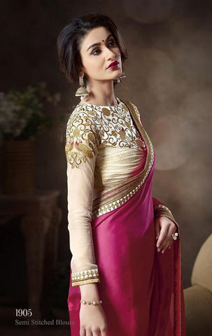 Double shaded pink and orange saree with beige designer blouse