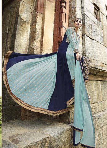 Designer Blue long anarkali suits for parties, wedding and engagement