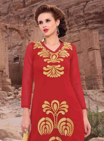 Red designer straight knee length suits with heavy embroidery