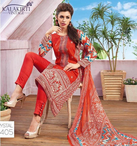 Multi color printed straight knee length salwar suits dress material