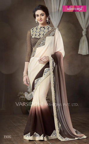 Saree cream , Brown,Bhagalpuri silk