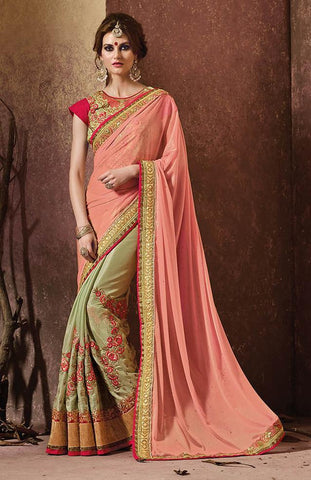 Baby pink color saree with heavy work