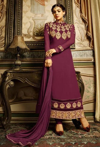 Designer neck embroidered salwar suits with heavy border knee length
