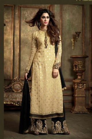 Suits Beige , Black,Georgette , Net