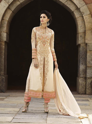 Long designer party wear heavy embroidery suits floor length,Cream,Georgette