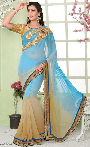 Blue , Beige,Georgette,Designer party wear saree with designer blouse