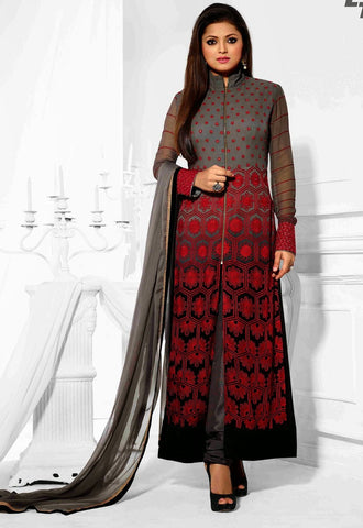 Salwar kameez,top : georgette,dupatta chiffon,color : grey