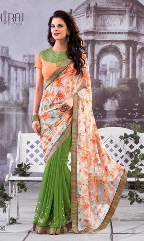 Saree Green , orange,Half Georgette & Half chiffon