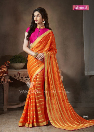 Pink and orange designer saree