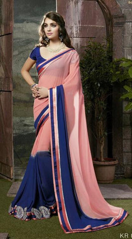 Pink , Blue,Georgette,Designer party wear saree with designer blouse