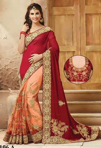 Wine , Peach,Viscose,Party wear designer saree