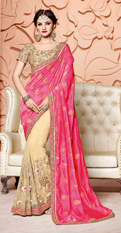 Pink & Beige Pure Silk Saree With Golden Blouse
