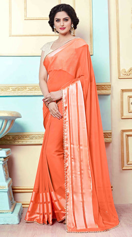Orange,Georgette,Designer sari