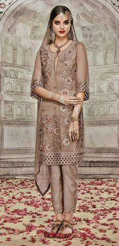 Brown,Georgette,Party wear straight designer suit