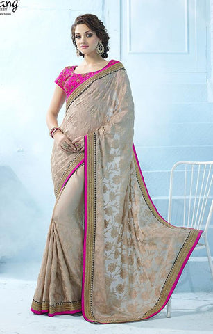 Beige , Pink,Satin,Heavy designer party wear saree with designer blouse